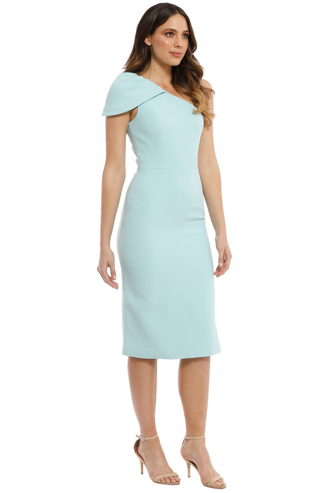 Rebecca Vallance Carline One Shoulder Dress in Eggshell Blue