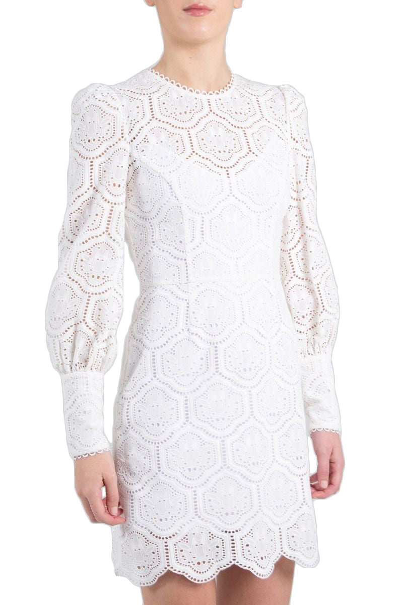 Rebecca Vallance Savannah Long Sleeve Mini Dress in Ivory