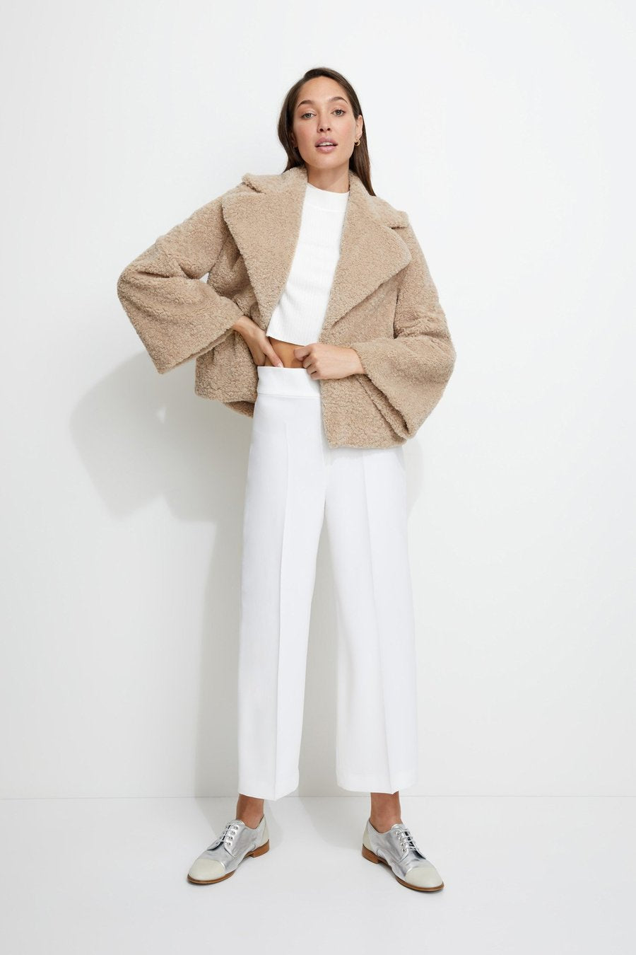 Unreal Fur Madam Shearling Jacket in Biscotti