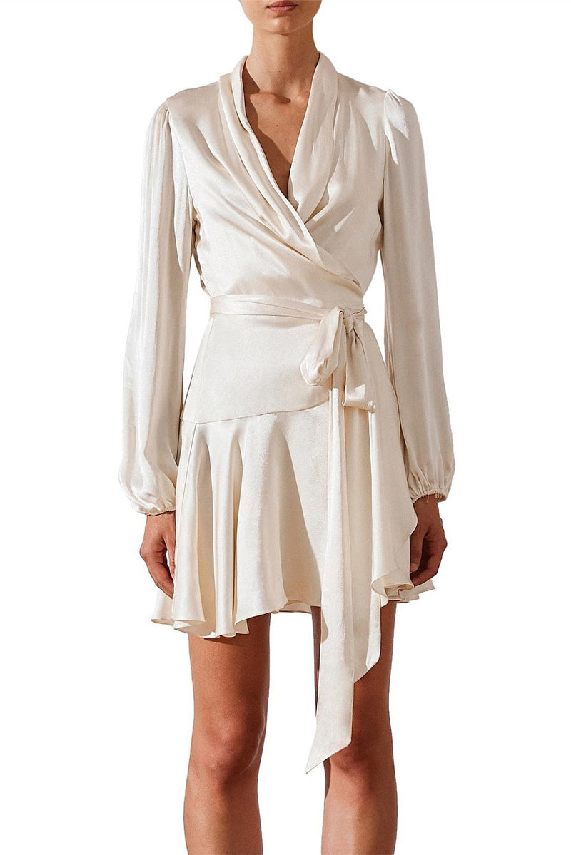 Shona Joy Joan Wrap Mini Dress in Cream