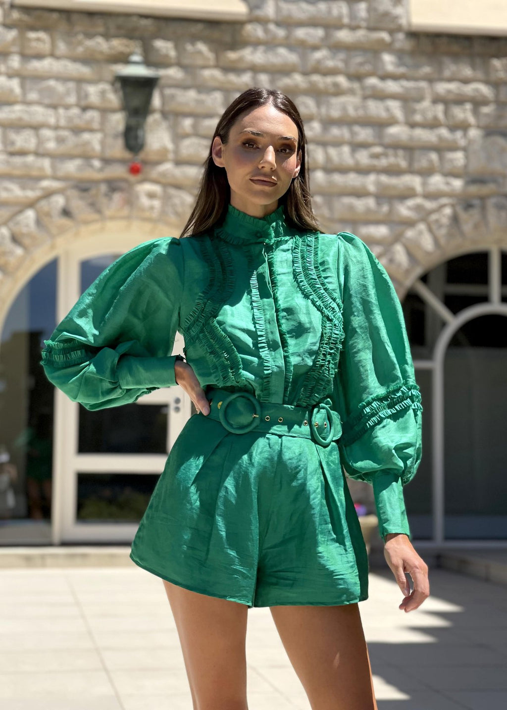Mackenzie Mode Starlet Blouse in Green