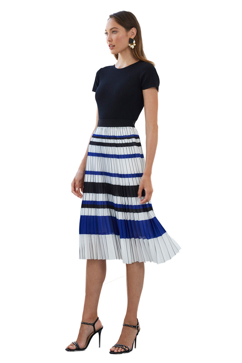 By Johnny Straight Lines Pleated Midi Skirt in White Black Blue