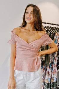 Suboo Sundaze Off Shoulder Top in Pale Pink