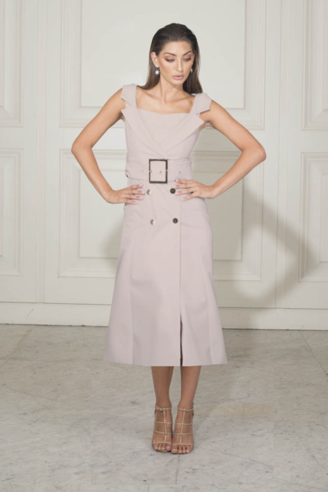 Chriselle Secret Memory Tuxedo Midi Dress in Dusty Rose