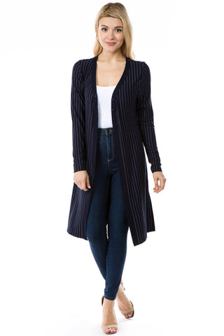 APNY Pinstripe Button Front Cardigan - Navy/White