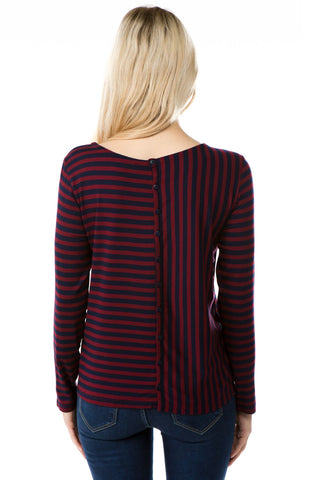 APNY Long Sleeve Striped Top -  Wine/Navy
