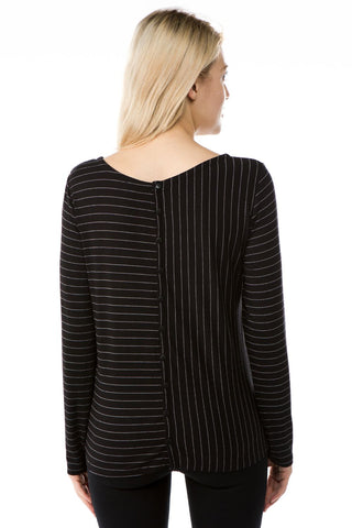 APNY Pinstripe Button Back Knit Top - Black/White