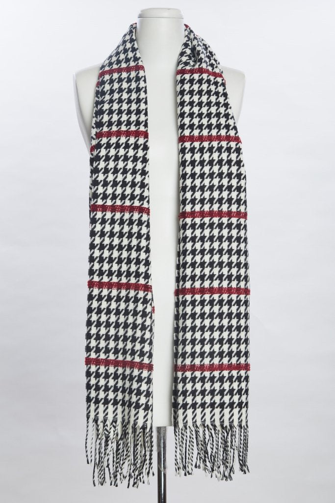 Houndstooth Pashmina - Red Accent