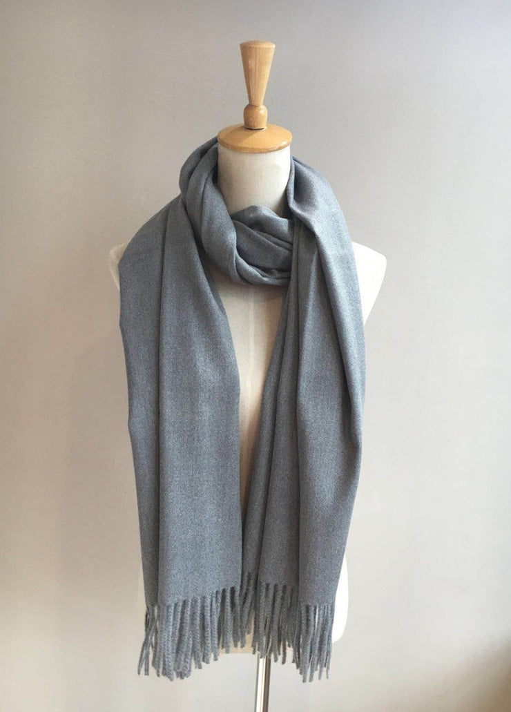 Solid Scarf with Fringe - Grey