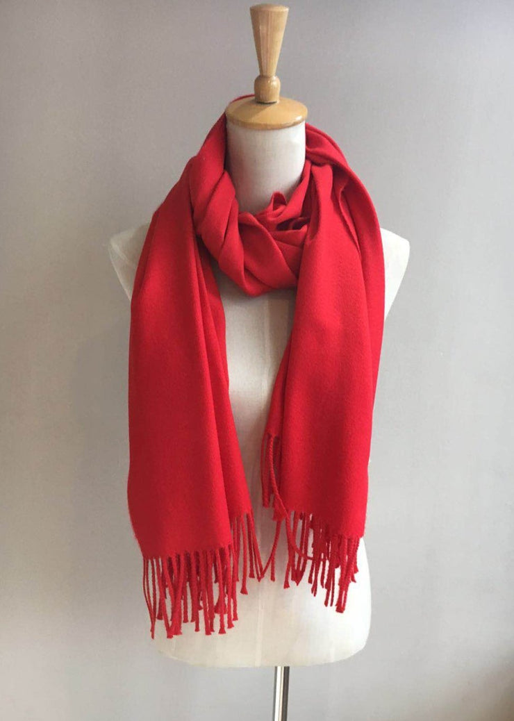 Solid Scarf with Fringe - Red