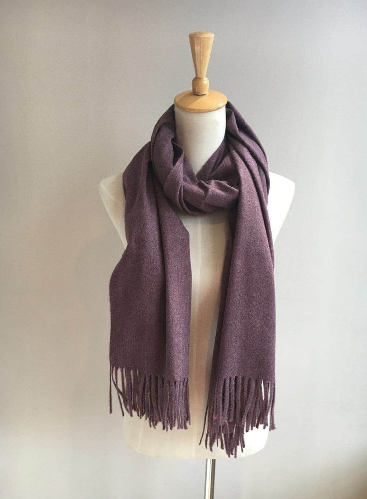Solid Scarf with Fringe - Mauve