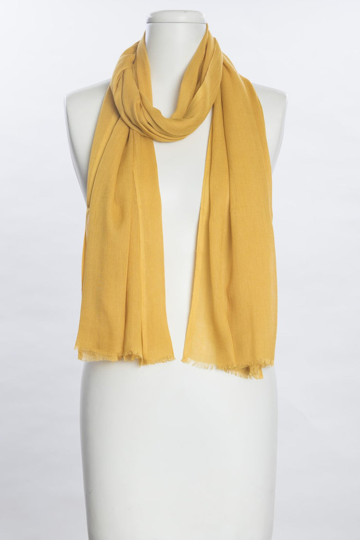 Solid Silk-Like Scarf - Mustard