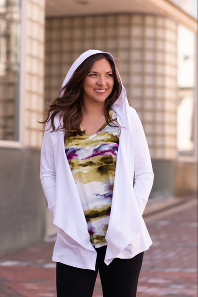 Pure Essence Open Front Bamboo Hoodie - White