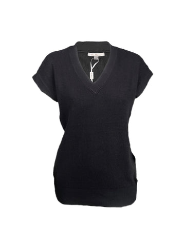 Milano Short Sleeve V-Neck Knit Top - Black