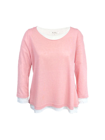Milano Double Layer Long Sleeve Knit Top - Pink/Eggshell