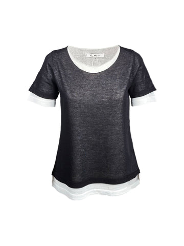 Milano Double Layer Short Sleeve Knit Top - Black/Eggshell