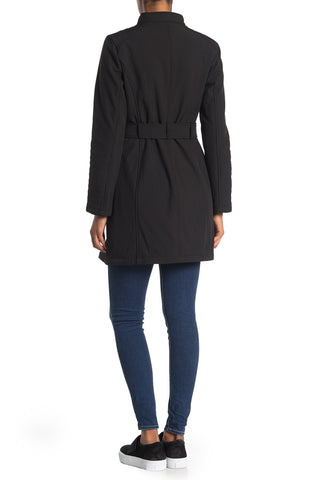 Kenneth Cole New York Plus Size Soft Shell Asymmetrical Zip Belted Coat - Black - Sugg. $200.00
