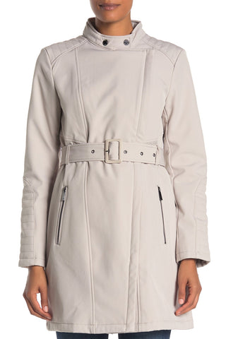 Kenneth Cole New York Soft Shell Asymmetrical Zip Belted Coat - Bone - Sugg. $200.00