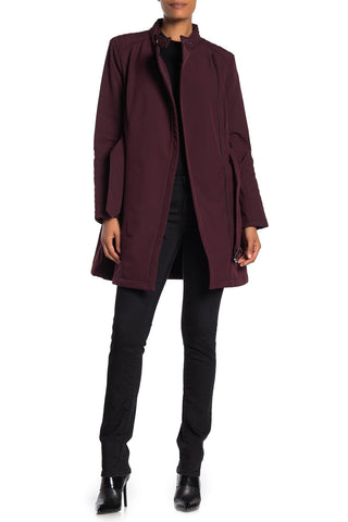 Kenneth Cole New York Soft Shell Asymmetrical Zip Belted Coat - Rum Raisin - Sugg. $200.00