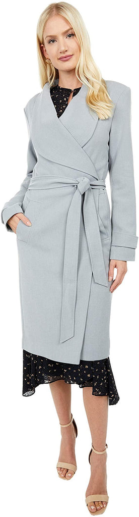 Kenneth Cole Belted Wrap Lightweight Ponte Midi Coat - Chrome - Sugg. $180.00