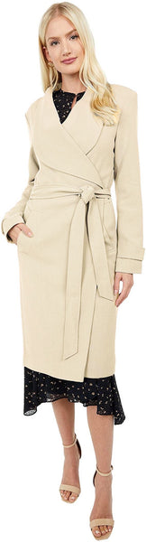 Kenneth Cole Belted Wrap Lightweight Ponte Midi Coat - Desert - Sugg. $180.00
