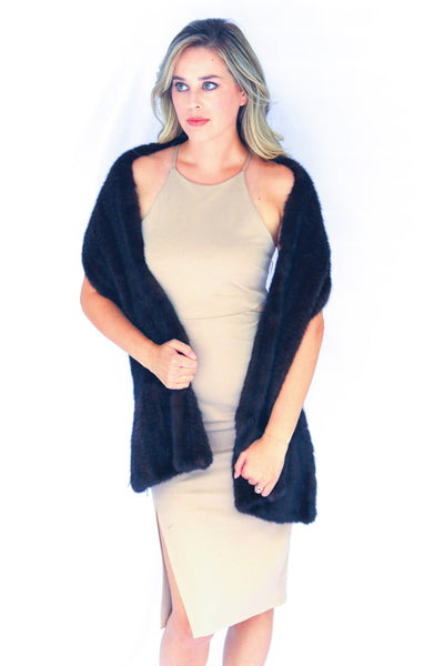 Knitted Mink Fur Shawl Scarf - Black