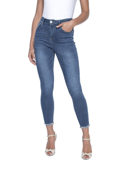 Frank Lyman Pearl Bow Cropped Jean - Denim