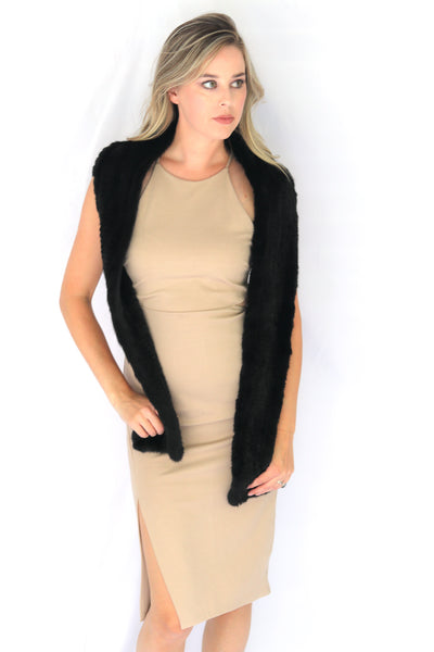 Knitted Mink Fur Scarf - Black