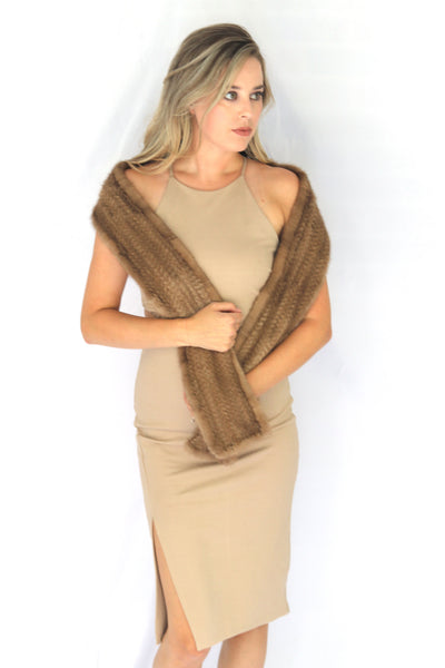 Knitted Mink Fur Scarf - Autumn Haze