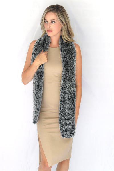 Knitted Rex Fur Scarf - Black & White