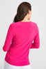 Image of Joseph Ribkoff Knotted Front 3/4 Sleeve V-Neck Top - Hyperpink