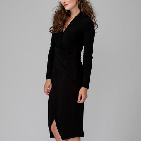 Joseph Ribkoff Surplice V-Neck Long Sleeve Midi Dress - Black