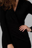 Image of Joseph Ribkoff Surplice V-Neck Long Sleeve Midi Dress - Black