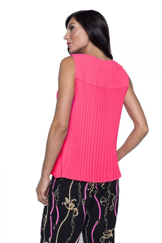 Frank Lyman Sleeveless V-Neck Pleat Back Crepe Top - Neon Pink