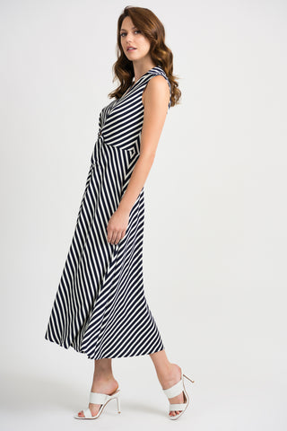 Joseph Ribkoff Sleeveless Striped Long Dress - Navy/White