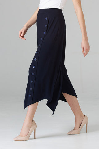 Joseph Ribkoff Wide Leg Cropped Button Detail Gaucho - Midnight