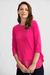 Joseph Ribkoff Round Neck 3/4 Sleeve Georgette Trim Top - Hyperpink