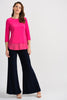 Image of Joseph Ribkoff Round Neck 3/4 Sleeve Georgette Trim Top - Hyperpink