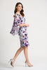 Image of Joseph Ribkoff Floral Watercolor Cape Overlay Dress - Purple/Multi