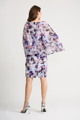 Joseph Ribkoff Floral Watercolor Cape Overlay Dress - Purple/Multi