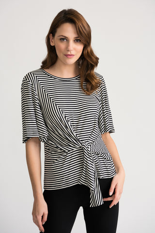 Joseph Ribkoff Stripe Knot Top - Black/White