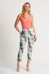 Joseph Ribkoff Palm Leaf Print Crop Pant - White/Multi