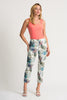 Image of Joseph Ribkoff Palm Leaf Print Crop Pant - White/Multi