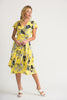 Image of Joseph Ribkoff Floral Print Cap Sleeve Midi Wrap Dress - Yellow/Black