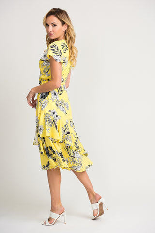 Joseph Ribkoff Floral Print Cap Sleeve Midi Wrap Dress - Yellow/Black