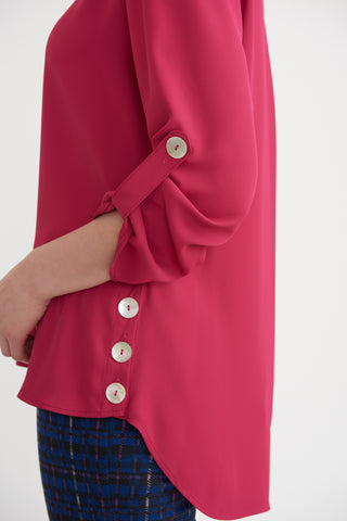 Joseph Ribkoff Button Detail Tab Sleeve Top - Hot Pink