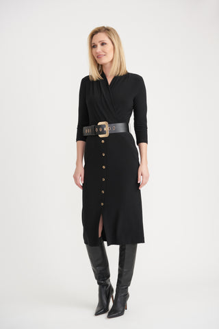 Joseph Ribkoff Belted Surplice Dress - Black