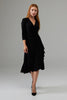 Image of Joseph Ribkoff 3/4 Sleeve Ruched Dress - Black