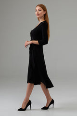 Joseph Ribkoff 3/4 Sleeve Ruched Dress - Black