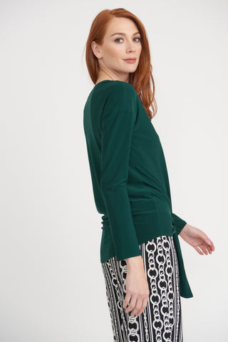 Joseph Ribkoff Tie-Front Long Sleeve Silky Knit Top - Pine